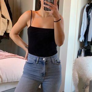 straight neck line snap button bodysuit